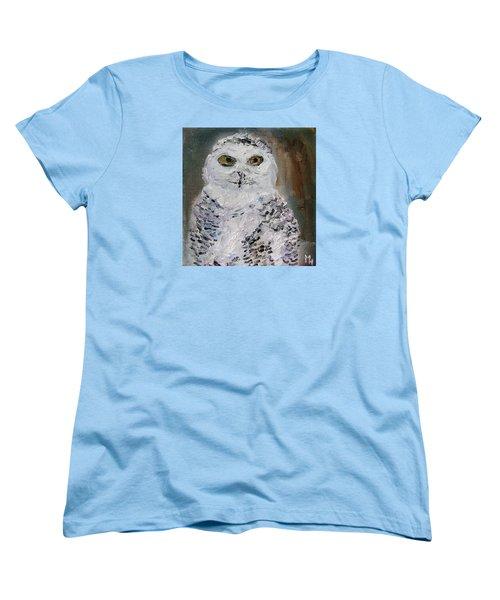 Snow Owl Women's T-Shirt (Standard Cut) by Michael Helfen