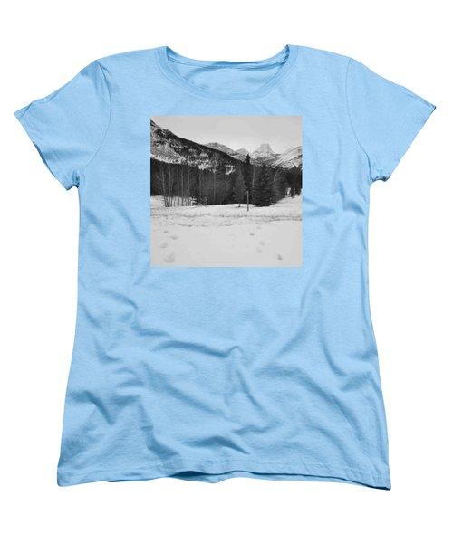 Snow Prints Women's T-Shirt (Standard Cut) by Cheryl Miller