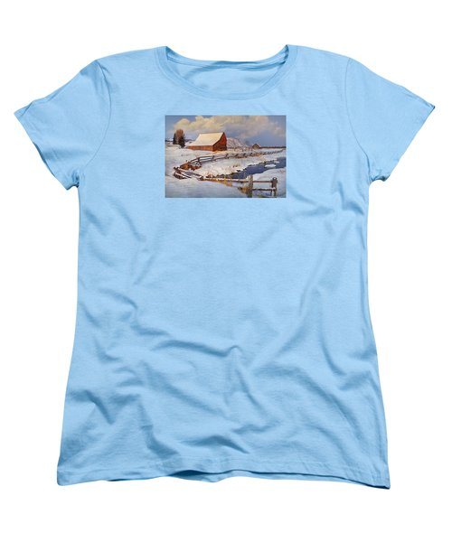 Women's T-Shirt (Standard Cut) featuring the photograph Snowed In by Priscilla Burgers