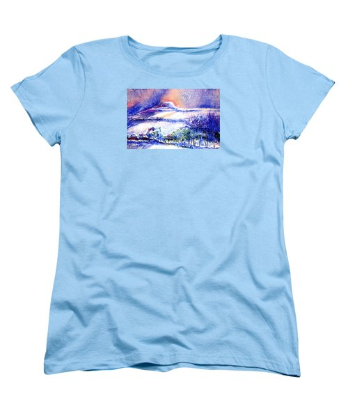 Women's T-Shirt (Standard Cut) featuring the painting Snowstorm Over Eagle Hill Hacketstown  by Trudi Doyle