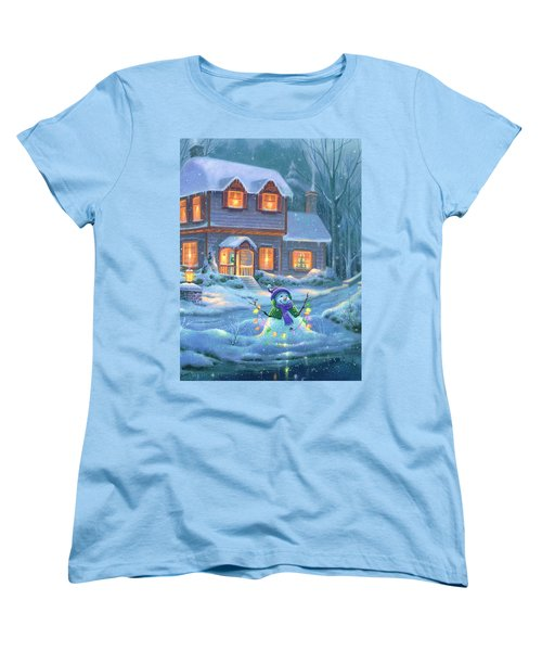 Women's T-Shirt (Standard Cut) featuring the painting Snowy Bright Night by Michael Humphries