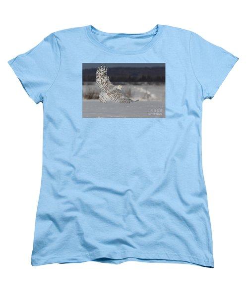 Snowy Owl In Flight Women's T-Shirt (Standard Cut) by Mircea Costina Photography