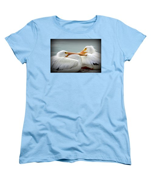 Snuggly Pelicans Women's T-Shirt (Standard Cut) by Laurie Perry
