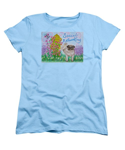 Women's T-Shirt (Standard Cut) featuring the painting Social Networking Pug by Diane Pape