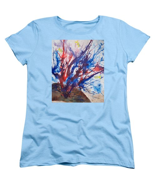 Soft Coral Splatter Women's T-Shirt (Standard Cut) by Patricia Beebe