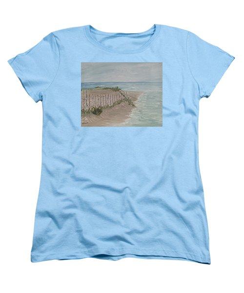 Women's T-Shirt (Standard Cut) featuring the painting Soft Sea by Barbara McDevitt