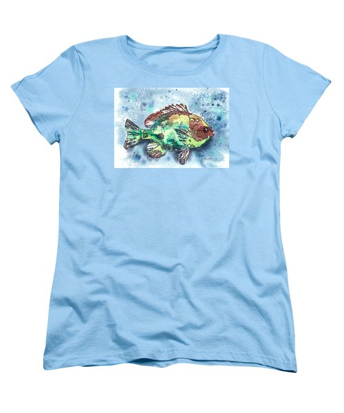 Women's T-Shirt (Standard Cut) featuring the painting Something's Fishy by Barbara Jewell