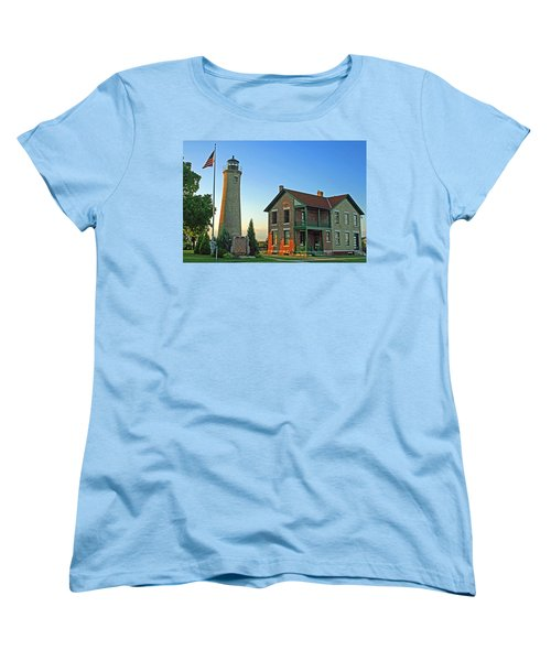 Women's T-Shirt (Standard Cut) featuring the photograph Southport Lighthouse On Simmons Island by Kay Novy