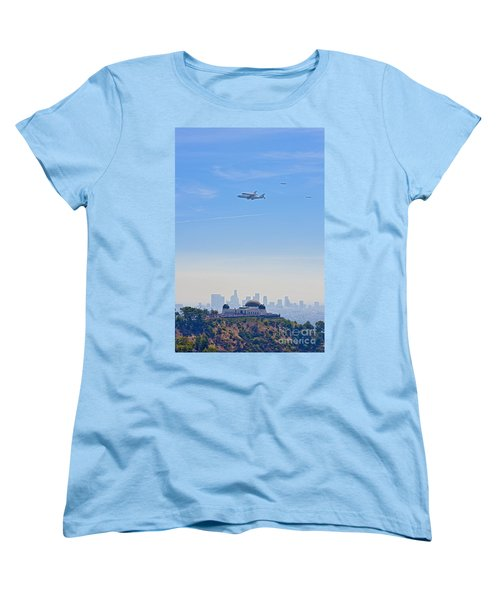 Space Shuttle Endeavour And Chase Planes Over The Griffith Observatory Women's T-Shirt (Standard Cut) by David Zanzinger