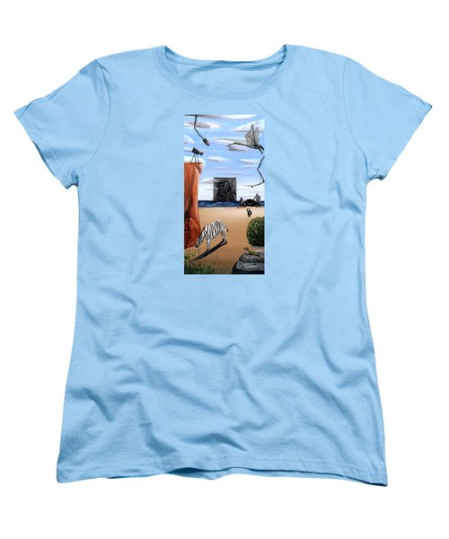 Women's T-Shirt (Standard Cut) featuring the painting Species Differentiation -darwinian Broadcast- by Ryan Demaree