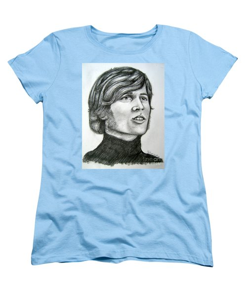 Women's T-Shirt (Standard Cut) featuring the drawing  A Young Barry Gibb by Patrice Torrillo