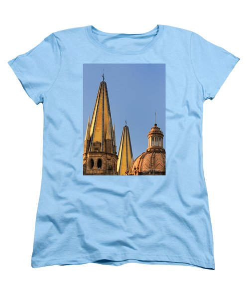 Women's T-Shirt (Standard Cut) featuring the photograph Spires And Dome - Cathedral Of Guadalajara Mexico by David Perry Lawrence