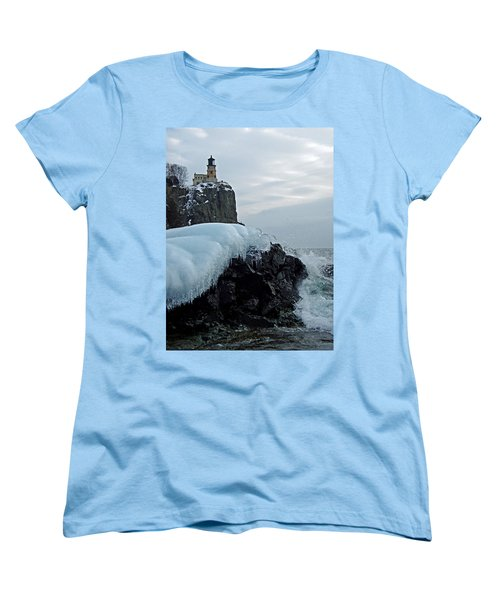 Women's T-Shirt (Standard Cut) featuring the photograph Split Rock Lighthouse Winter by James Peterson