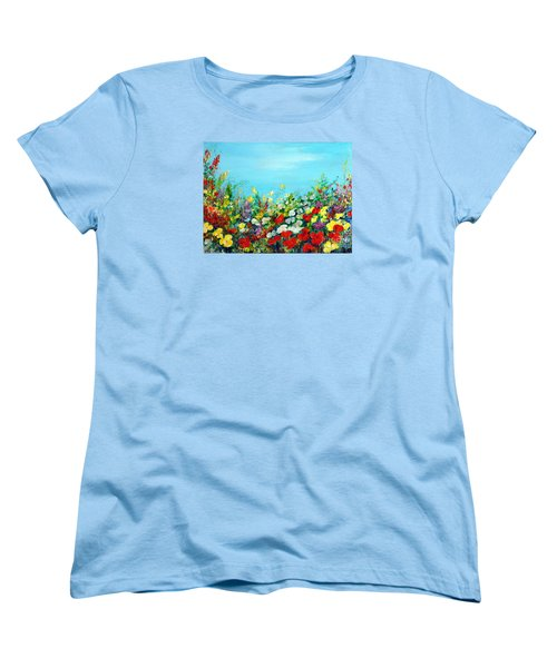 Women's T-Shirt (Standard Cut) featuring the painting Spring In The Garden by Teresa Wegrzyn