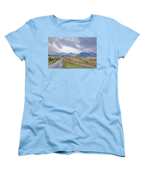Women's T-Shirt (Standard Cut) featuring the painting Spring Rain In Tuscany by Joan Hartenstein