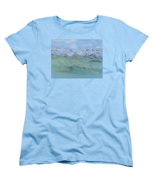 Women's T-Shirt (Standard Cut) featuring the pastel Springtime In The Rockies by Michele Myers
