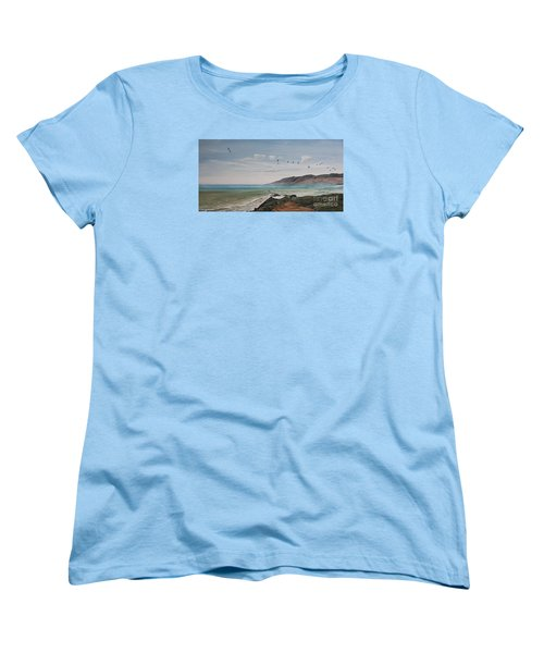 Women's T-Shirt (Standard Cut) featuring the painting Squadron Of Pelicans Central Califonia by Ian Donley