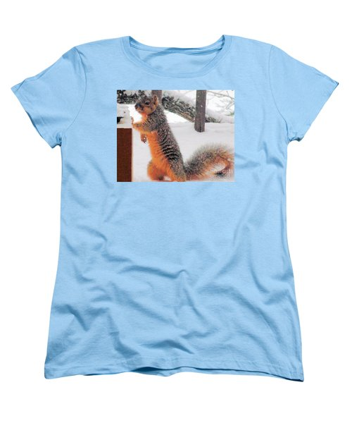 Women's T-Shirt (Standard Cut) featuring the photograph Squirrel Checking Out Seeds by Janette Boyd