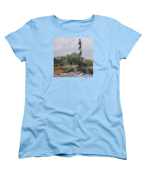 St Augustine Lighthouse First Light Women's T-Shirt (Standard Cut) by Mary Hubley