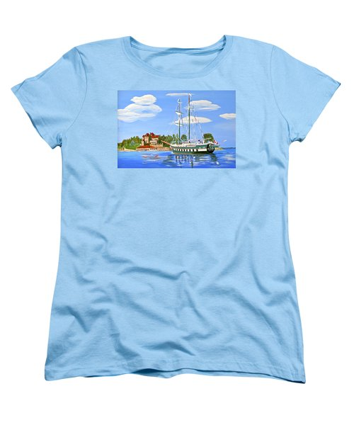 Women's T-Shirt (Standard Cut) featuring the painting St Lawrence Waterway 1000 Islands by Phyllis Kaltenbach