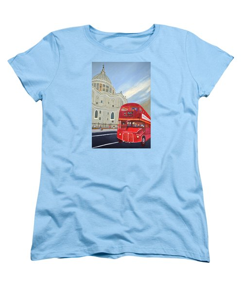 St. Paul Cathedral And London Bus Women's T-Shirt (Standard Cut)