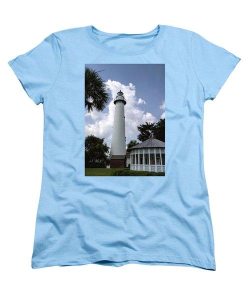 St. Simon's Island Georgia Lighthouse Women's T-Shirt (Standard Cut) by Kathy Clark