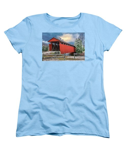 Staats Mill Covered Bridge Women's T-Shirt (Standard Cut) by Mary Almond