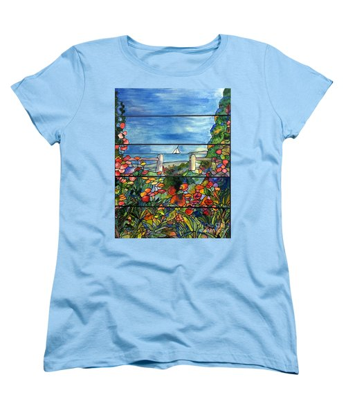 Stained Glass Tiffany Landscape Window With Sailboat Women's T-Shirt (Standard Cut) by Donna Walsh