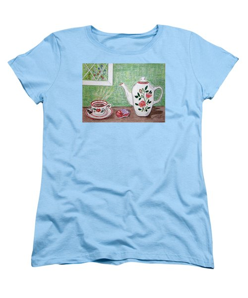 Women's T-Shirt (Standard Cut) featuring the painting Stangl Pottery Rose Pattern by Kathy Marrs Chandler