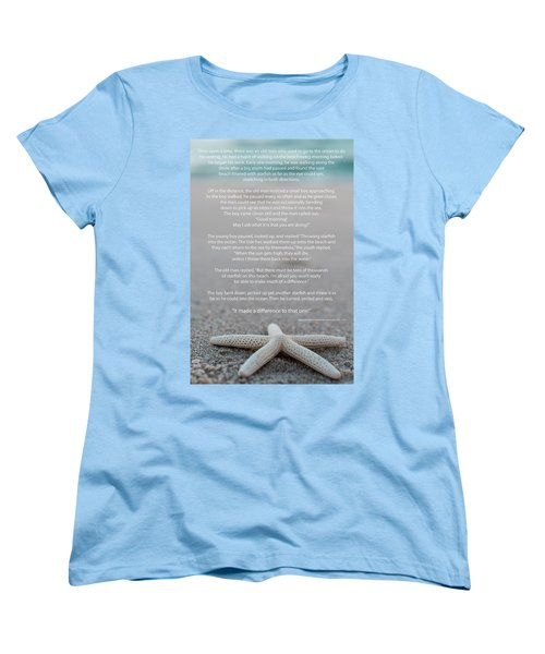 Starfish Make A Difference  Women's T-Shirt (Standard Cut) by Terry DeLuco