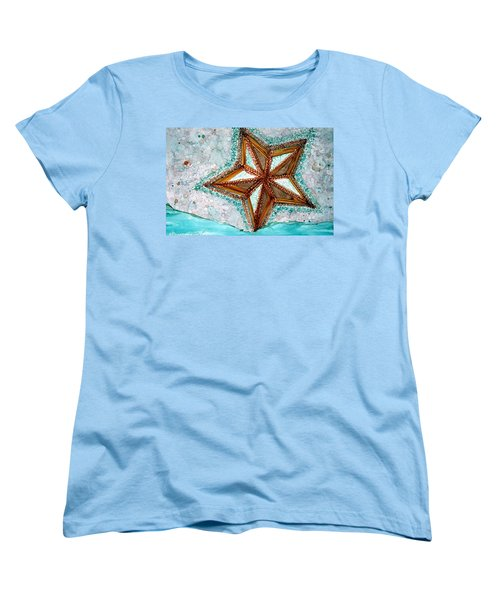 Women's T-Shirt (Standard Cut) featuring the painting Starfish On The Beach Alcohol Inks by Danielle  Parent