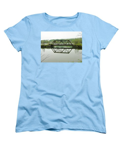 Women's T-Shirt (Standard Cut) featuring the photograph Vermont Steel Railroad Trestle On A Calm  Misty Morning by Sherman Perry