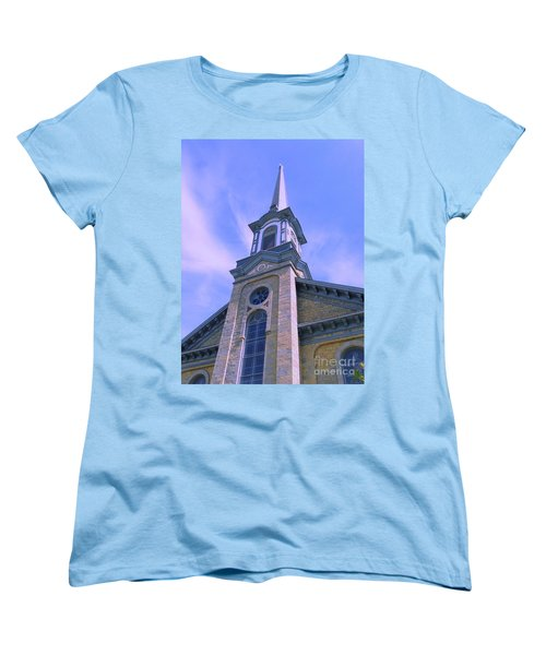 Women's T-Shirt (Standard Cut) featuring the photograph Steeple Church Arch Windows  1 by Becky Lupe