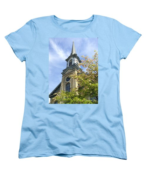 Women's T-Shirt (Standard Cut) featuring the photograph Steeple Church Arch Windows by Becky Lupe