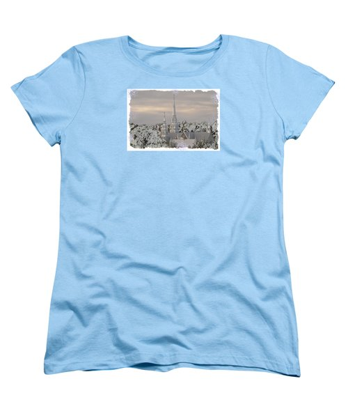 Women's T-Shirt (Standard Cut) featuring the photograph Steeples In The Snow by Nadalyn Larsen