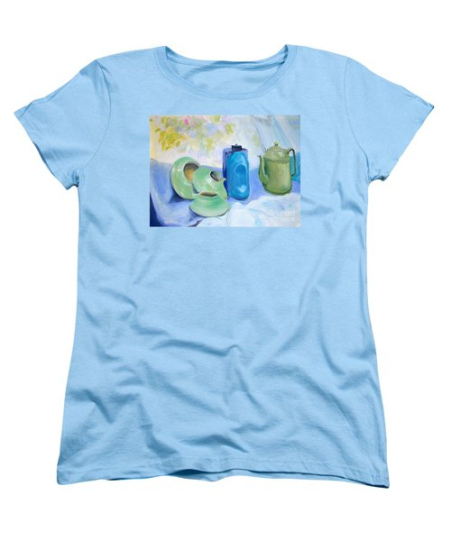 Women's T-Shirt (Standard Cut) featuring the painting Still Life In Blue And Green Pottery by Greta Corens