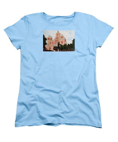 Women's T-Shirt (Standard Cut) featuring the painting St.marko Church Belgrade by Jasna Gopic