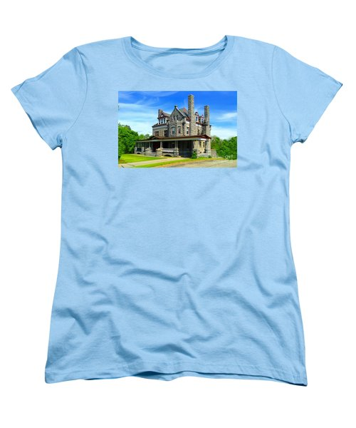 Women's T-Shirt (Standard Cut) featuring the photograph Stone Mansion Blue Sky by Becky Lupe