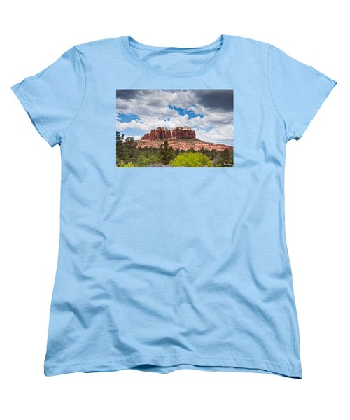 Women's T-Shirt (Standard Cut) featuring the photograph Storm Clouds Over Cathedral Rocks by Jeff Goulden