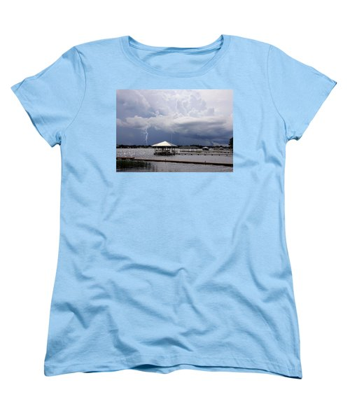 Women's T-Shirt (Standard Cut) featuring the photograph Storm Over Clay Lake by Rosalie Scanlon