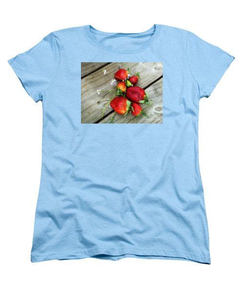 Women's T-Shirt (Standard Cut) featuring the digital art Strawberrries by Valerie Reeves