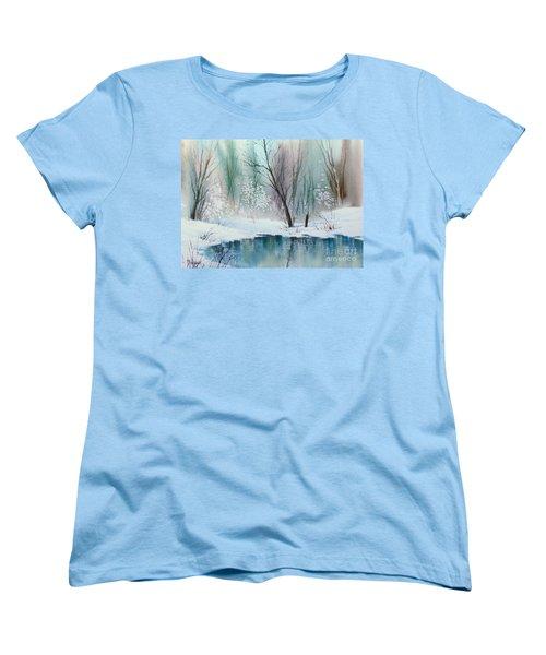 Stream Cove In Winter Women's T-Shirt (Standard Cut) by Teresa Ascone