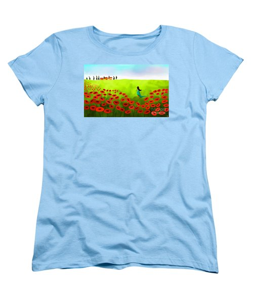 Strolling Among The Red Poppies Women's T-Shirt (Standard Cut) by Anita Lewis