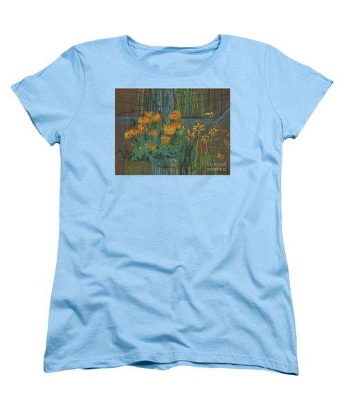 Women's T-Shirt (Standard Cut) featuring the painting Summer Flowers by Donald Maier