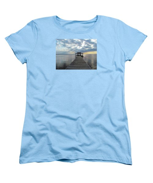 Women's T-Shirt (Standard Cut) featuring the photograph Sun Rays On The Lake by Cynthia Guinn