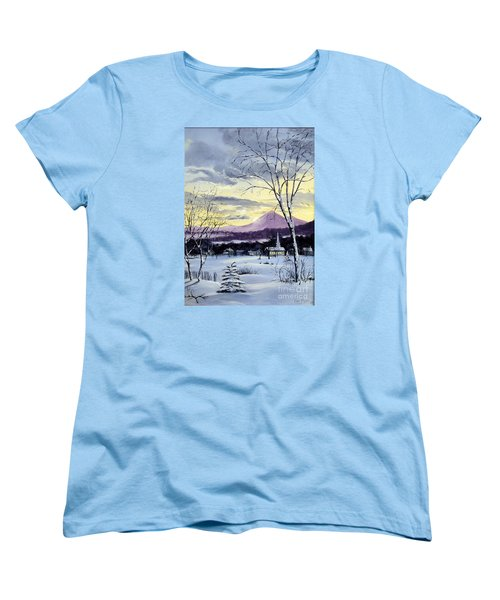 Women's T-Shirt (Standard Cut) featuring the painting Sunday In Winter by Lee Piper