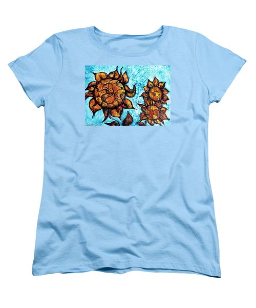 Women's T-Shirt (Standard Cut) featuring the painting Sunflower Patchwork Delight Alcohol Inks by Danielle  Parent