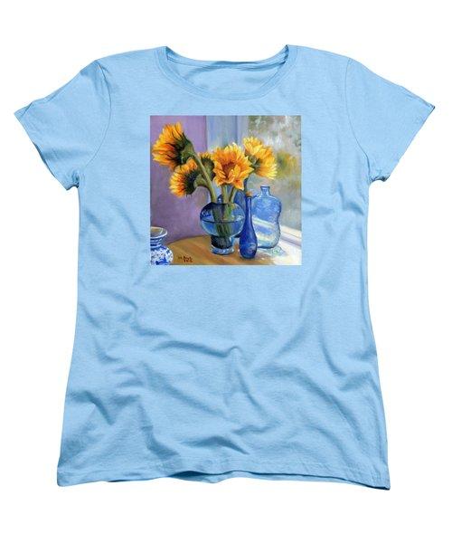 Sunflowers And Blue Bottles Women's T-Shirt (Standard Cut) by Marlene Book