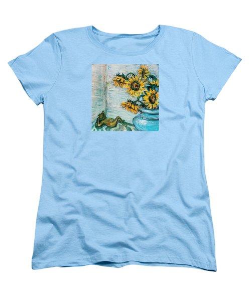 Sunflowers And Frog Women's T-Shirt (Standard Cut)