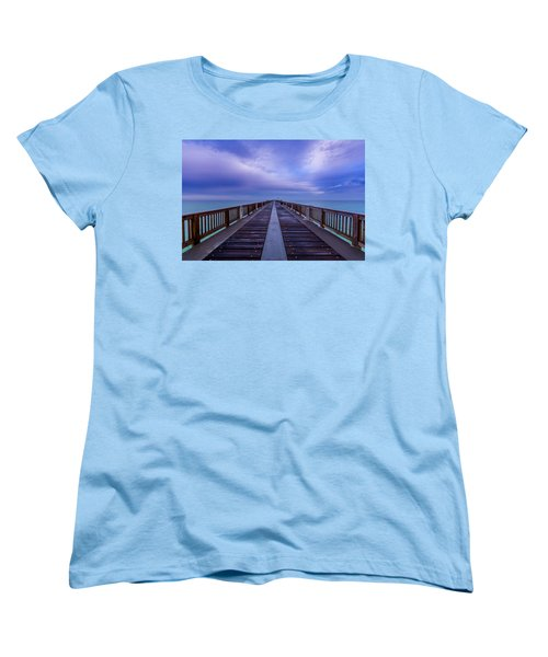 Sunrise At The Panama City Beach Pier Women's T-Shirt (Standard Cut) by David Morefield